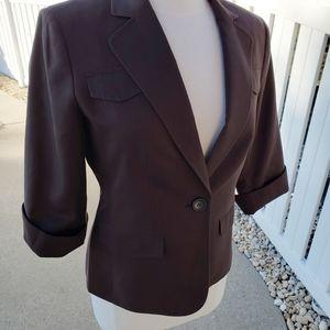 Kate Hill Silk Blend solid Brown Blazer Jacket 6